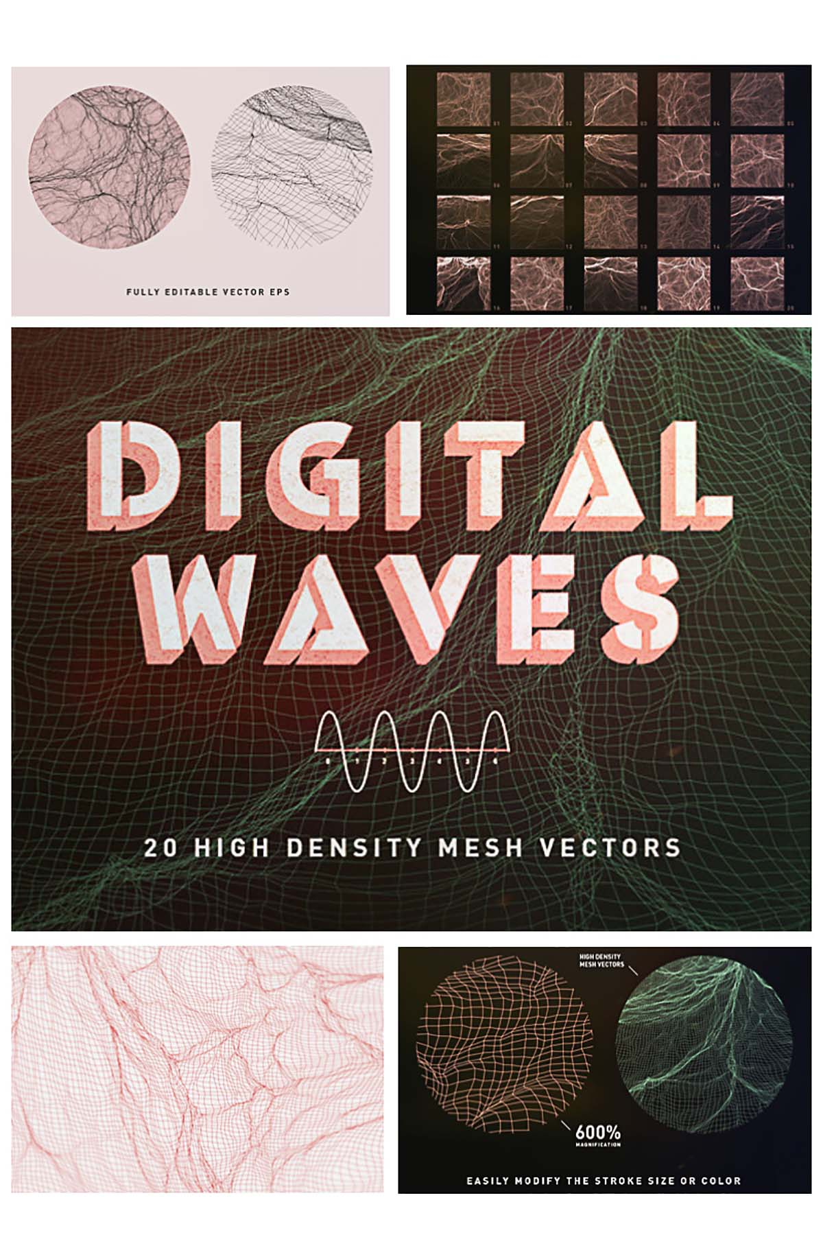 20 Digital waves vector set