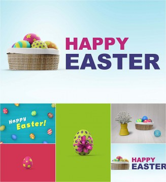 Easter mockup with eggs