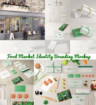 Food market identity branding mockups