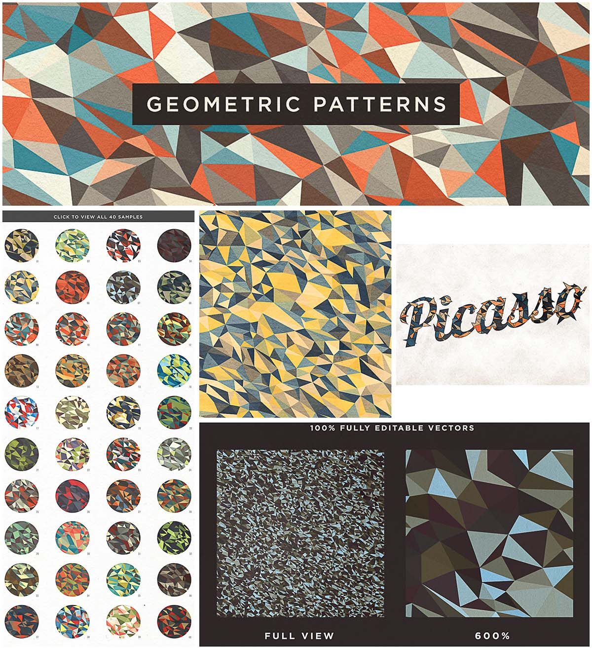 Geometric vector patterns cubist set