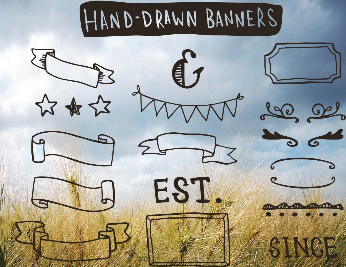Hand drawn banners collection