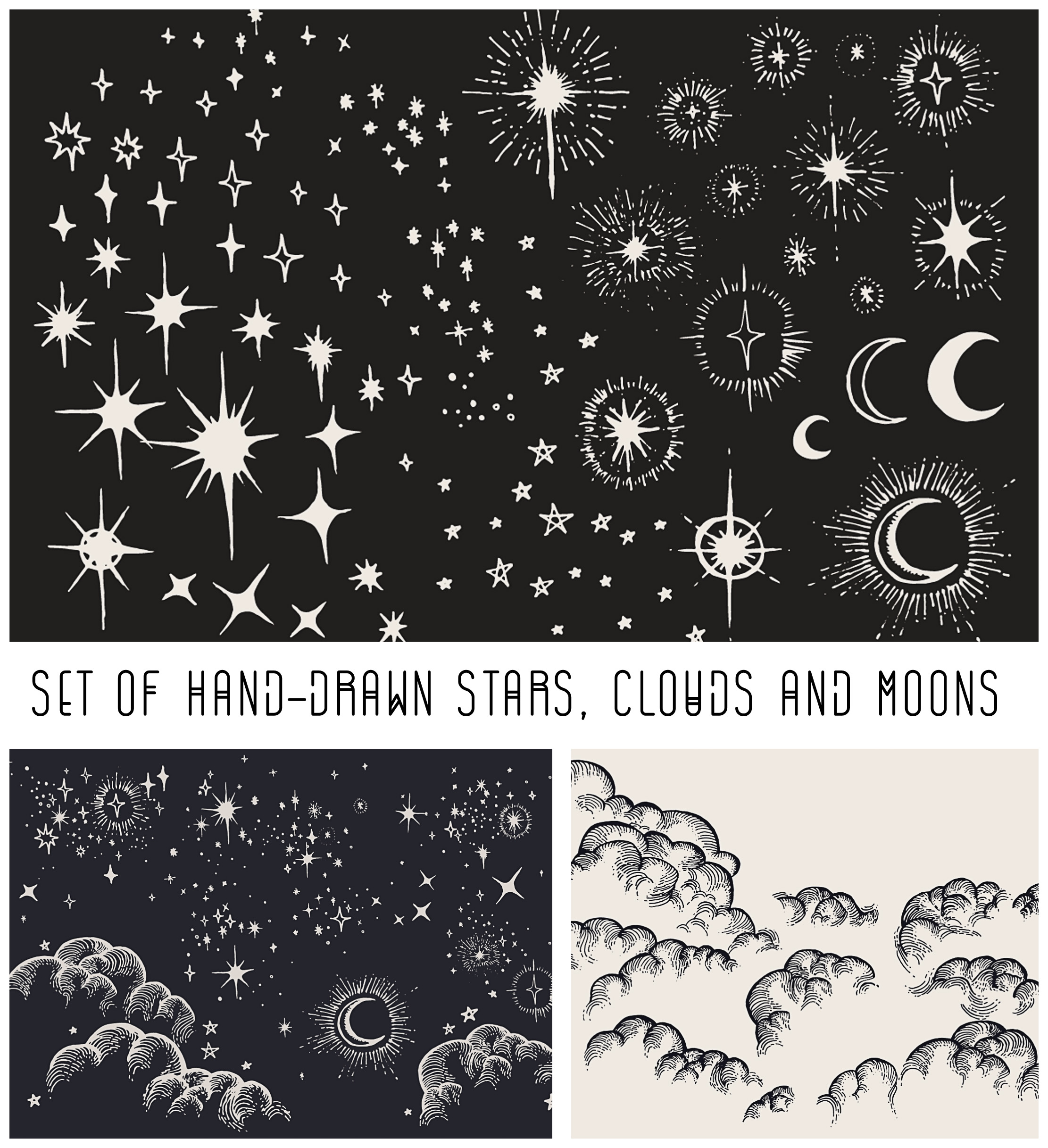 Hand drawn moon, stras and clouds vector set