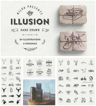 Illusion retro hand drawn set