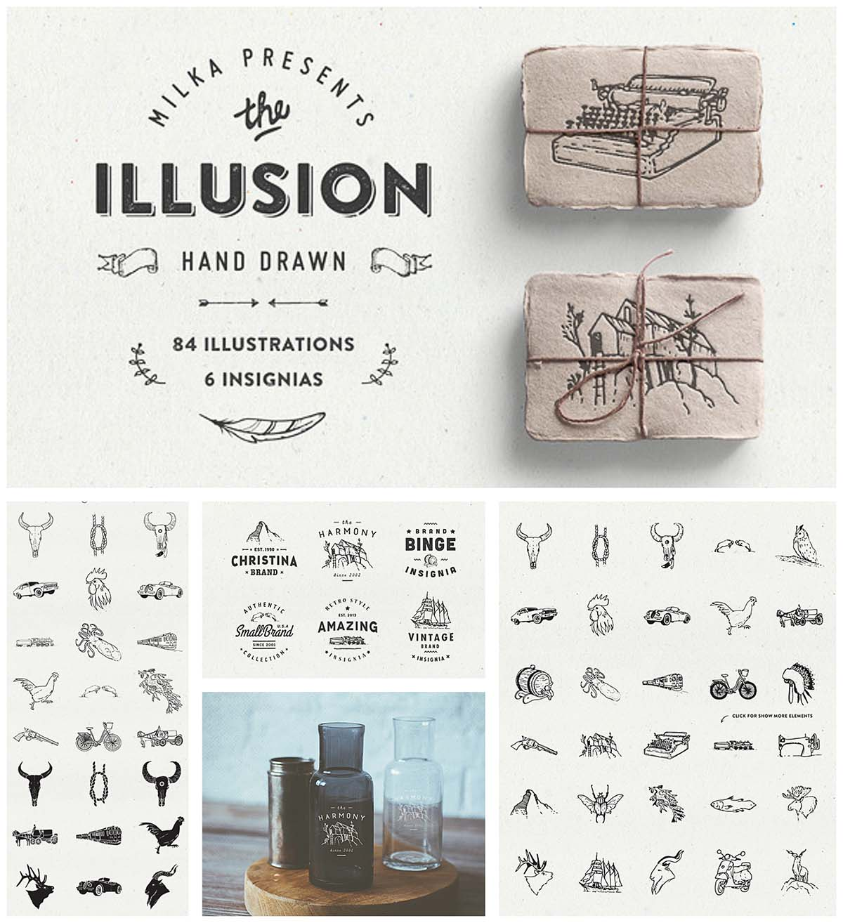 Illusion retro hand drawn set