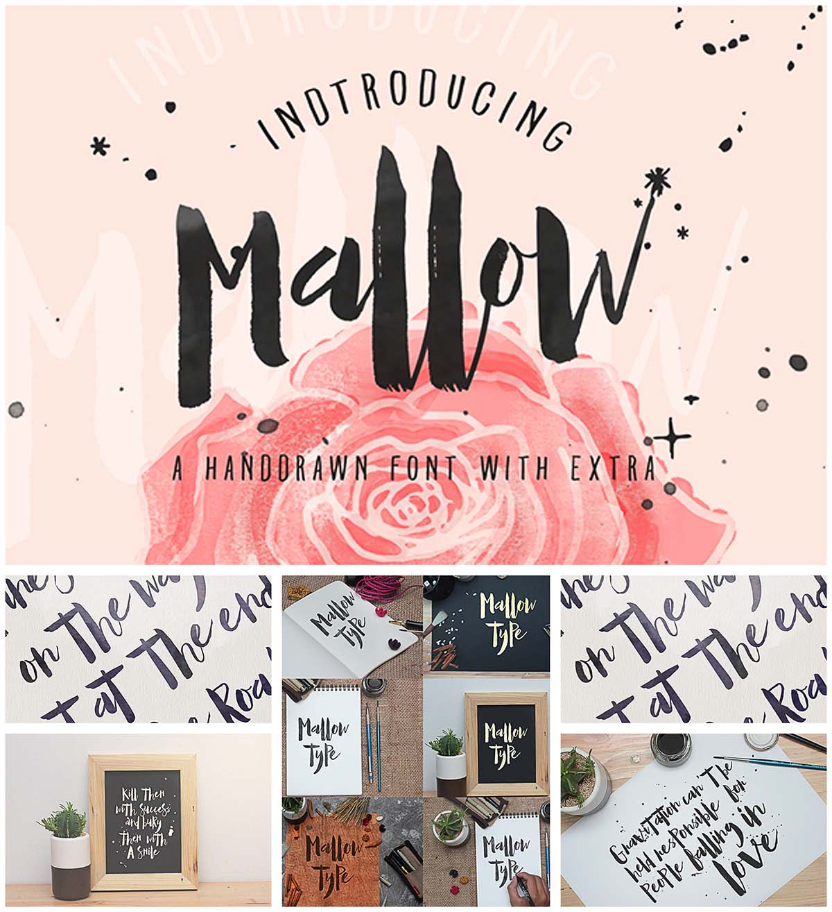 Mallow calligraphy font with extra