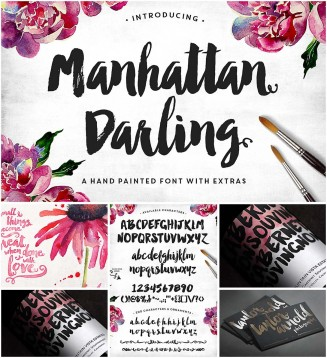 Manhattan darling typeface with bonus vectors
