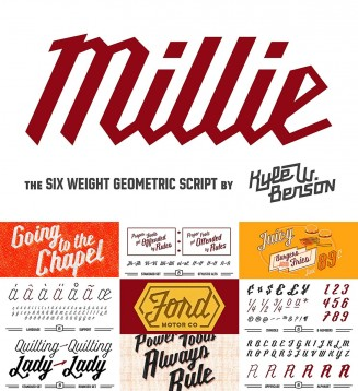 Millie round and geometic script and font set