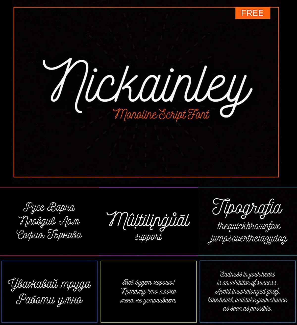 Nickainley multilingual font