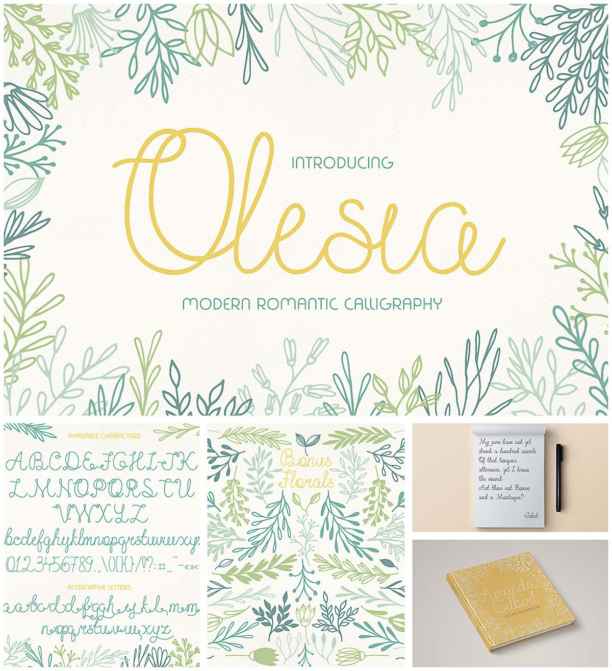 Olesia font with floral elements
