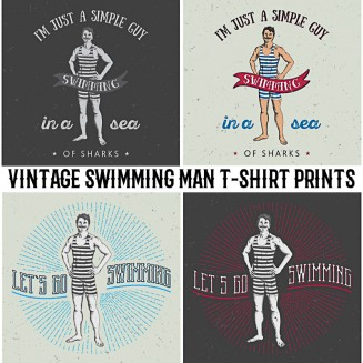 4 Vintage swimming man t-shirt prints
