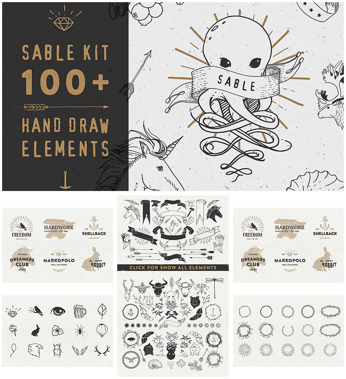 Sable Kit hand drawn elements