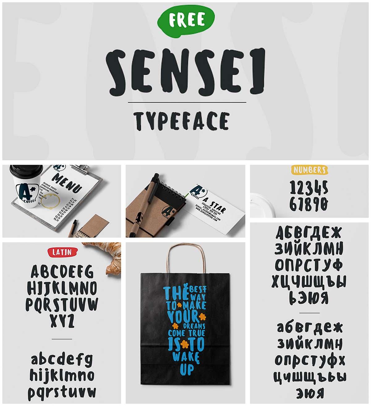 Sensei typeface cyrillic
