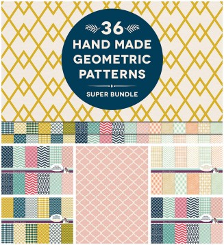 36 hand drawn patterns with geometric ornaments