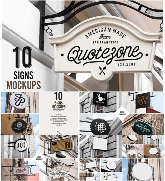 Restaurant signs mockup set