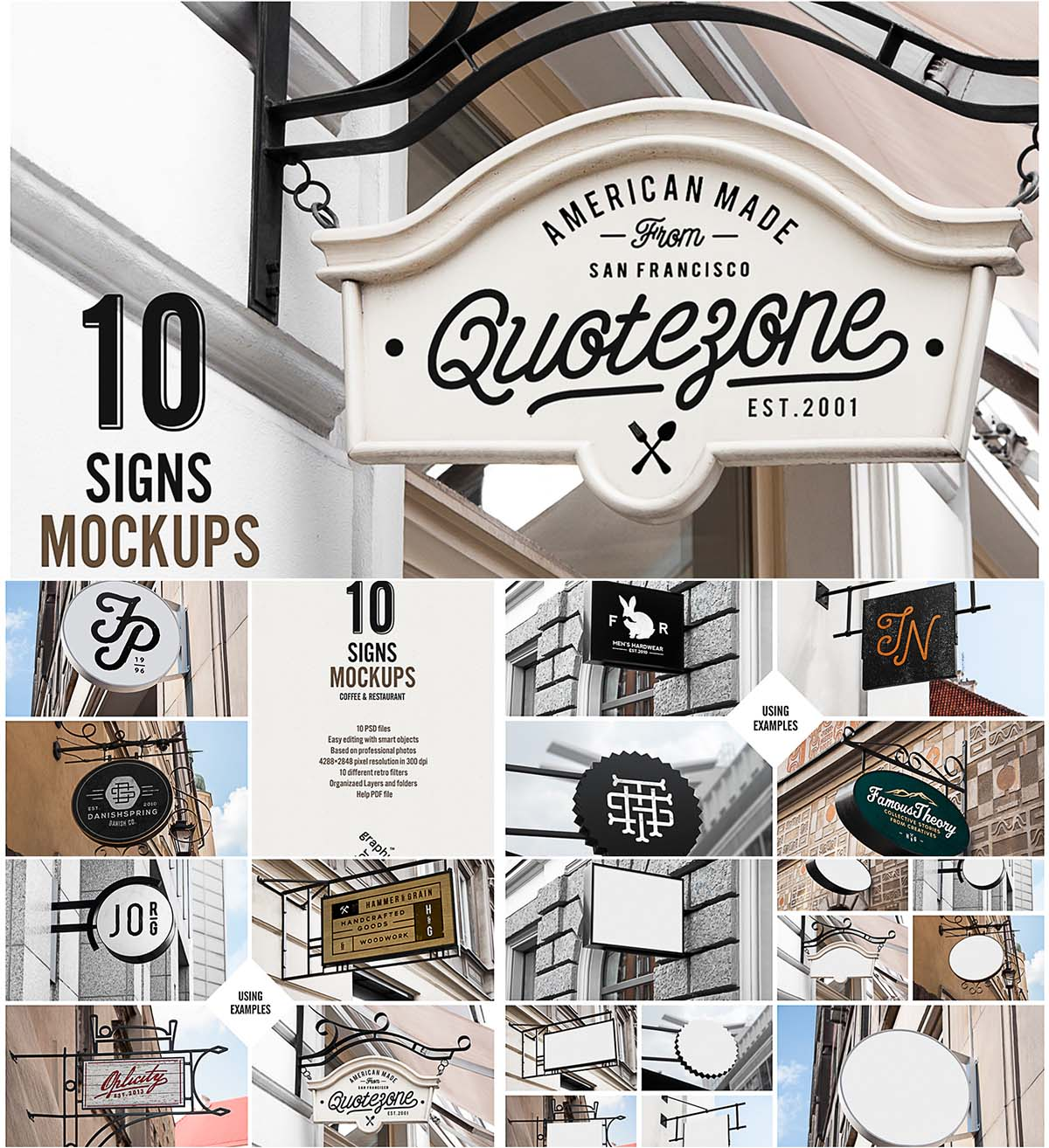 Signs restaurant and cafe mockups