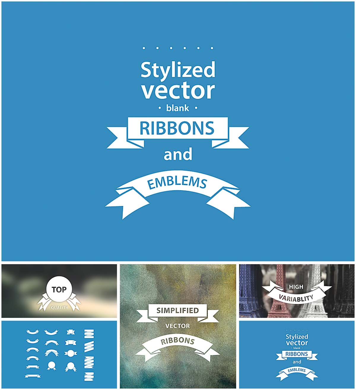 Simple emblems and ribbons vector set