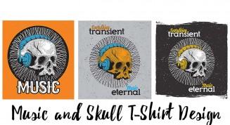 Skulls with earphones music T-Shirt print