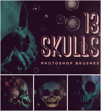 Skull brushes photoshop set