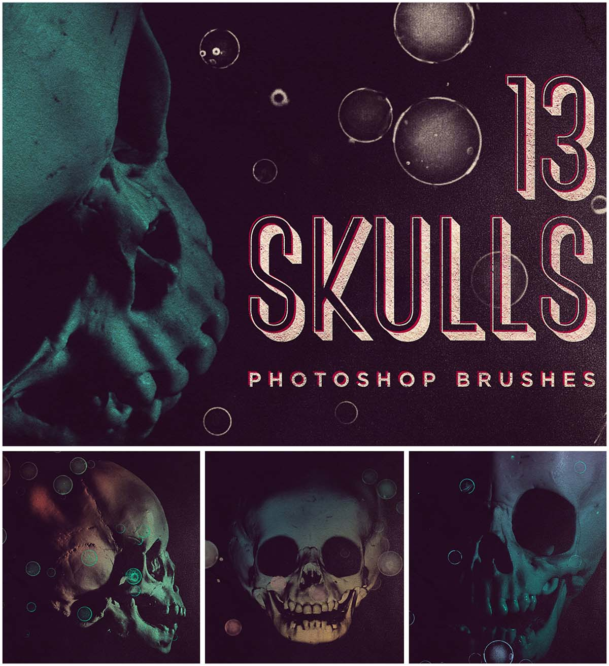 Skull brushes photoshop set