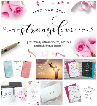 Strangelove wedding calligraphy font family