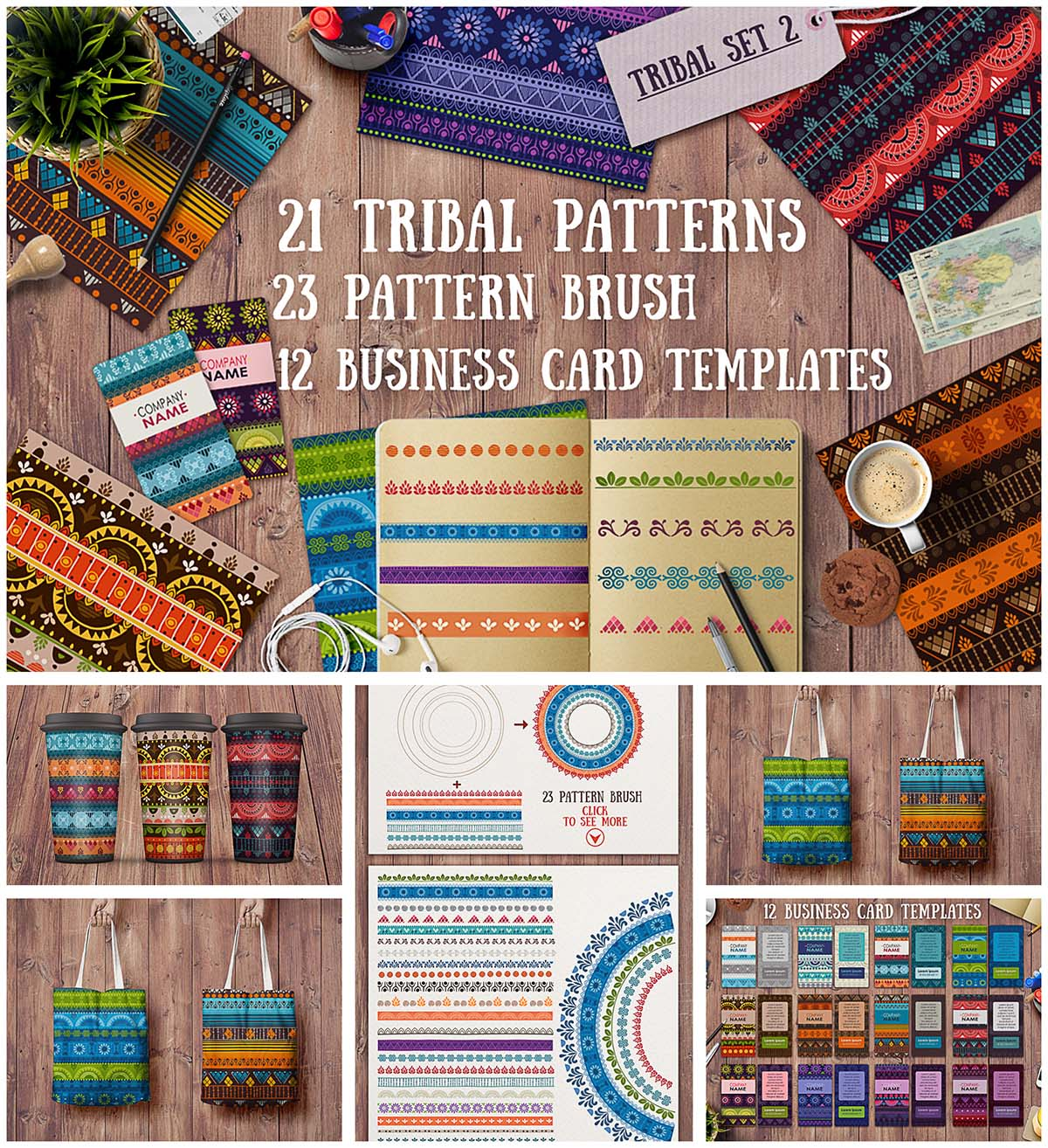 Tribal ethnic patterns and cards set