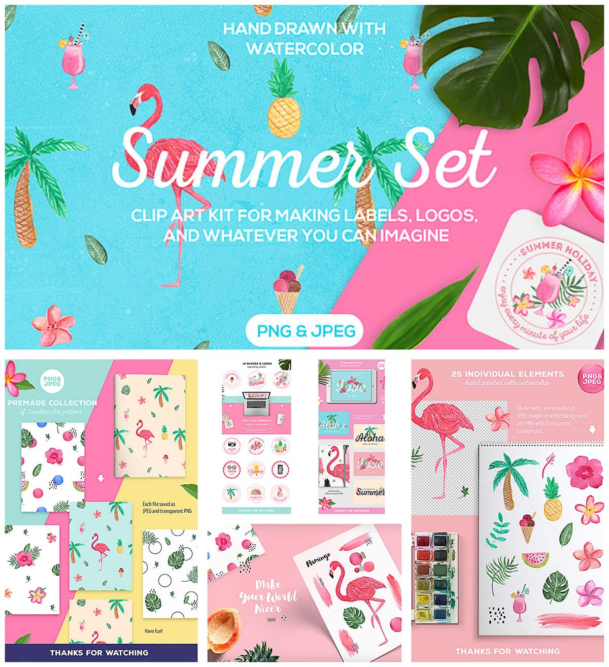 Summer set tropical watercolor set