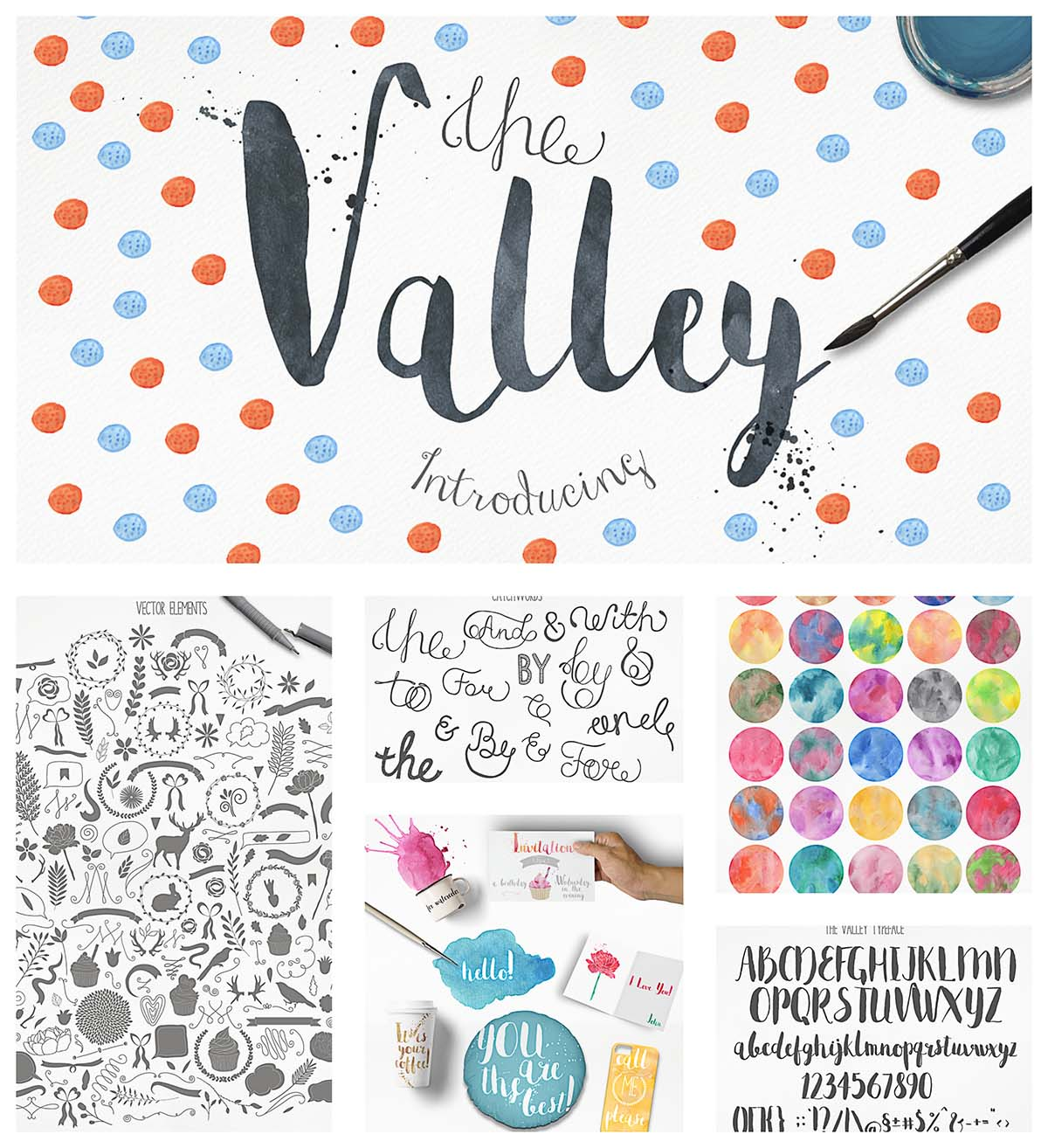 Valley fonts and watercolor textures