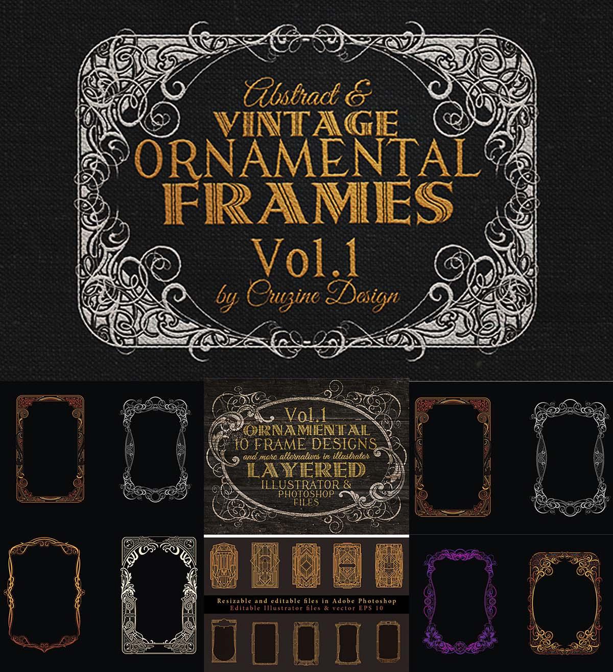Vintage ornamental frames set