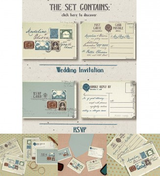 Vintage postal stamps invitation