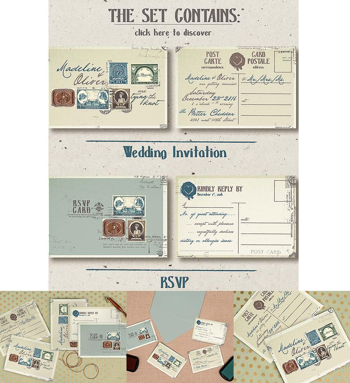Vintage postal stamps invitation