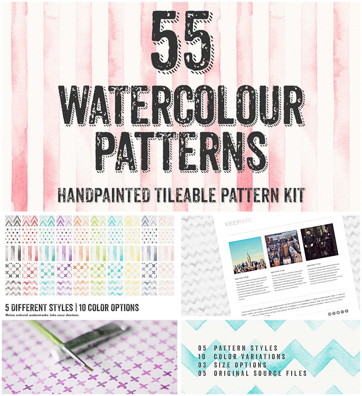55 Watercolor cute patterns