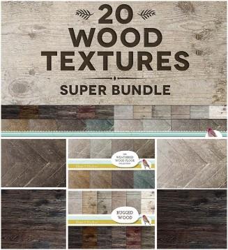 20 wooden textures set