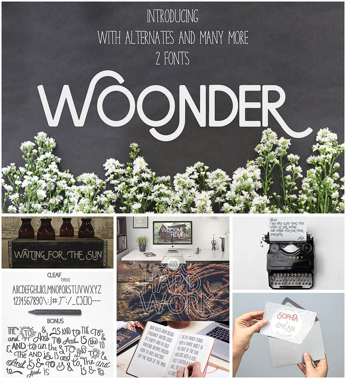 Woonder font with catchwords