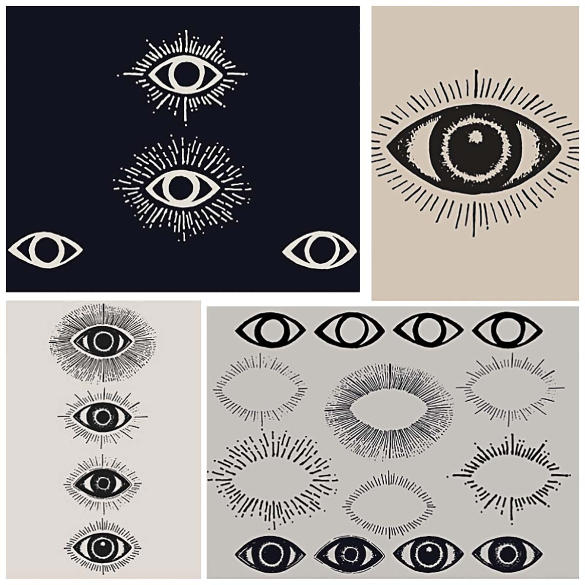 All seeing eyes hand drawn illustrations