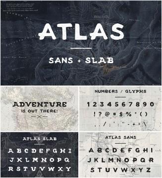Atlas sans slab vintage font
