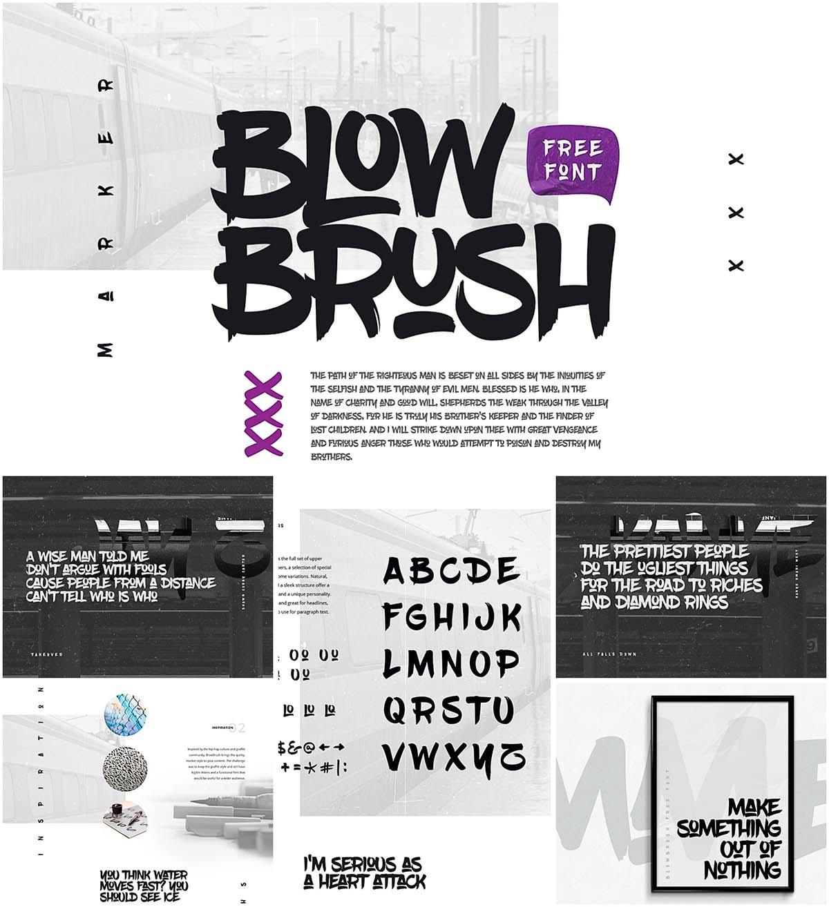 Blowbrush marker font