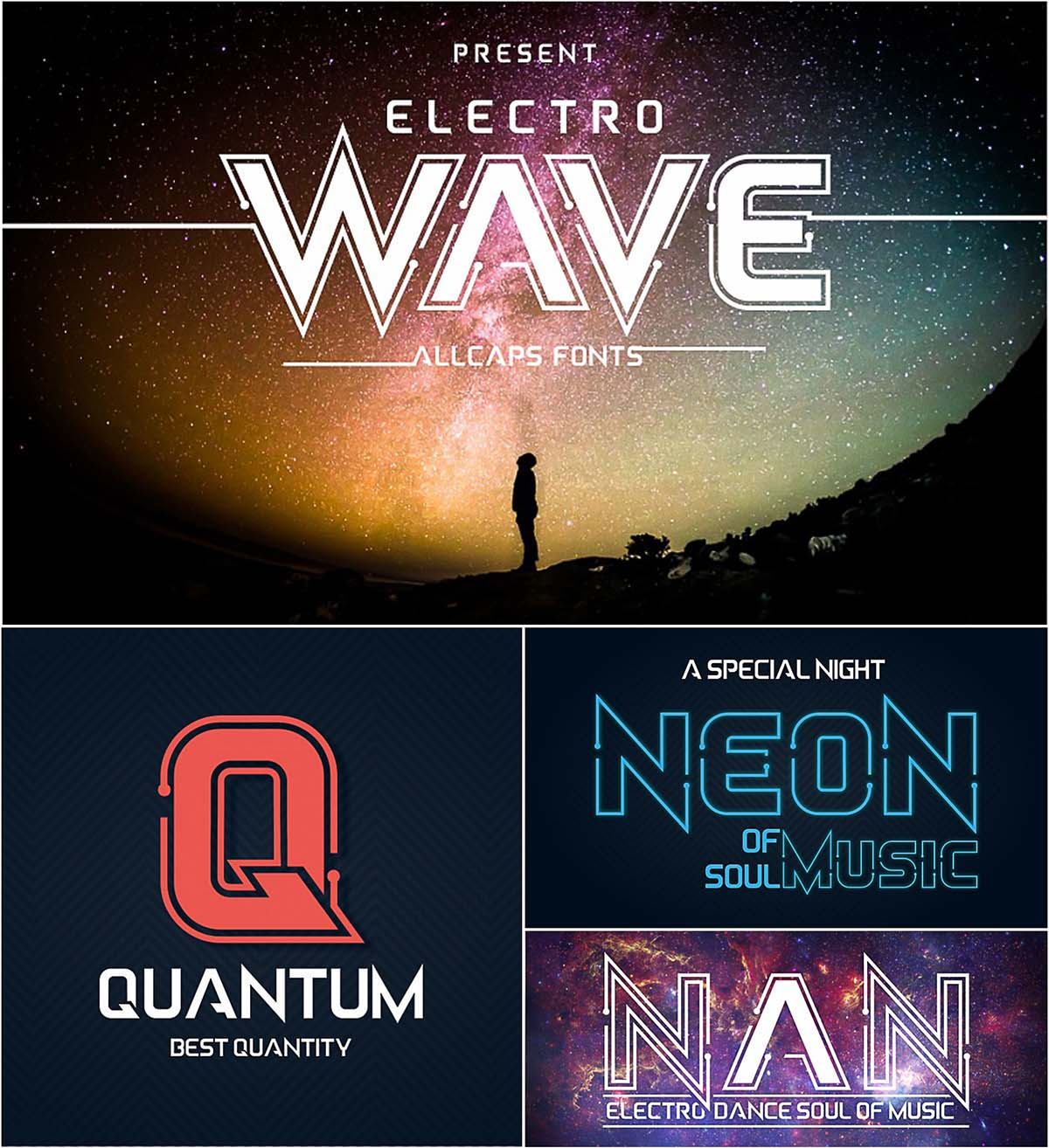 Electro wave set of fonts