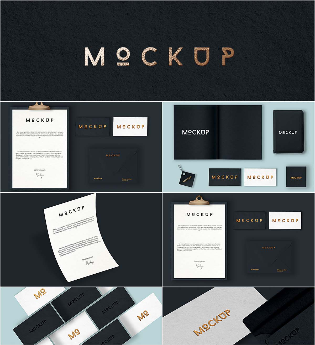 Elegant letters and cards mockup