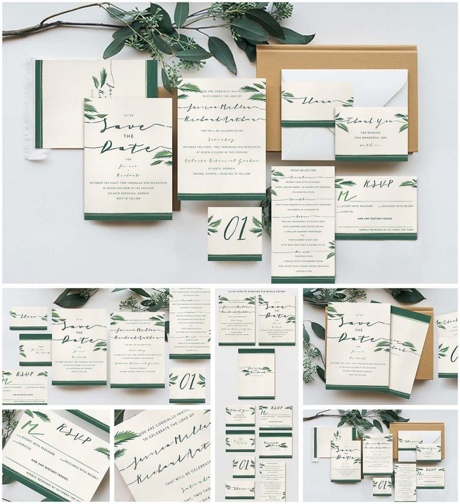 Elegant tropical wedding invitation cards Free download