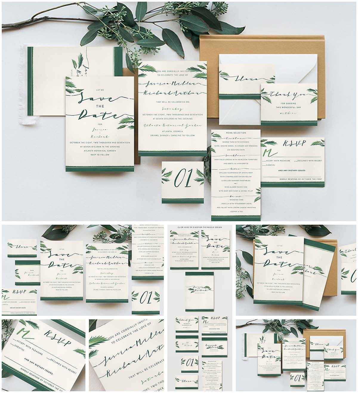 Tropical wedding invitation cards