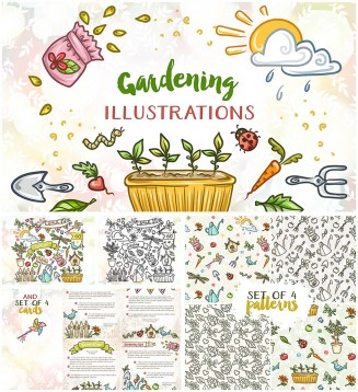 gardening illustrations collection