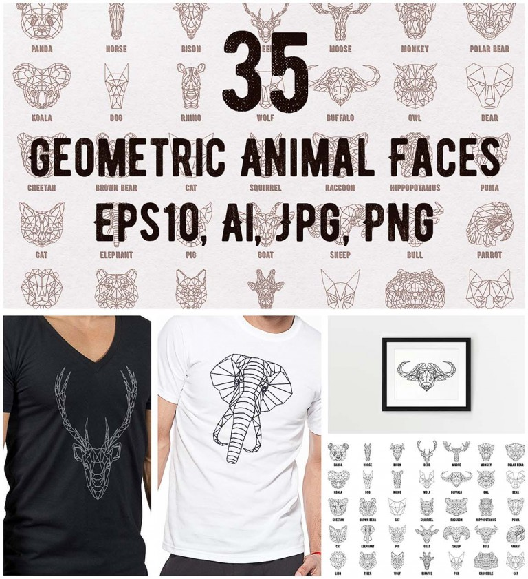 Geomertic modern animals set