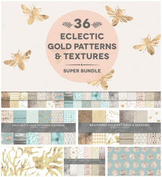 Weathered and gold texture collection