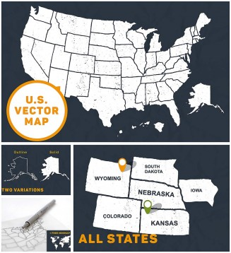 U.S. hand drawn map