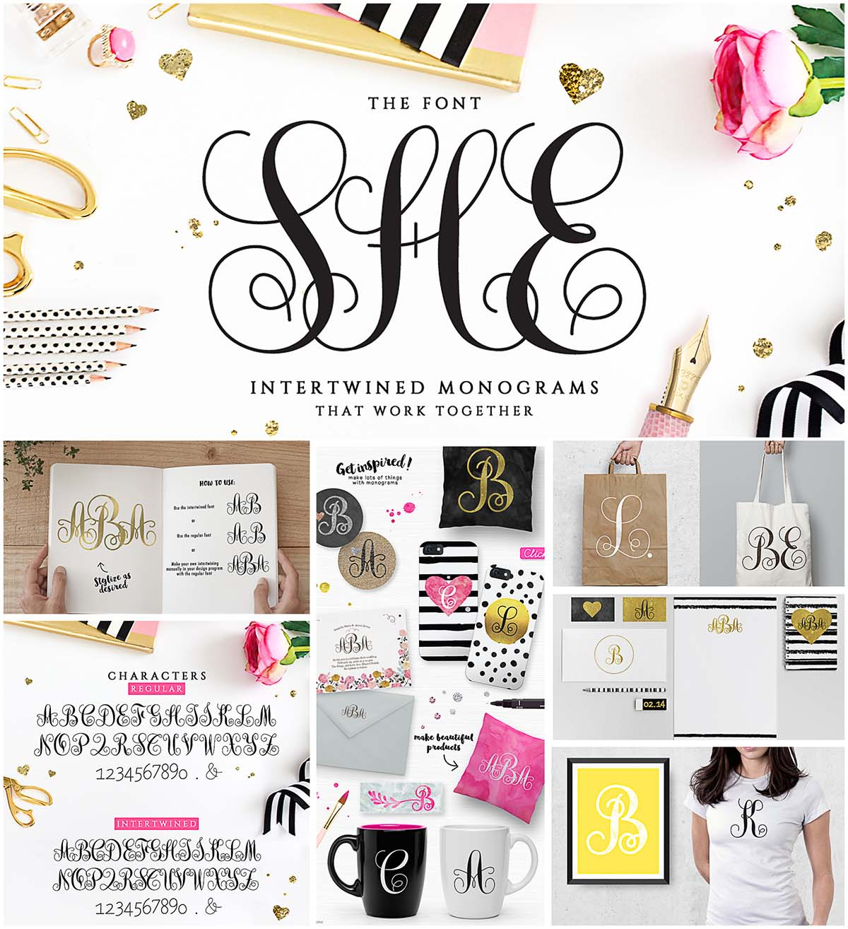 Monogram She font intertwined
