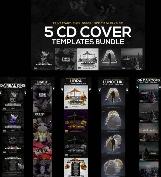5 music CD cover templates