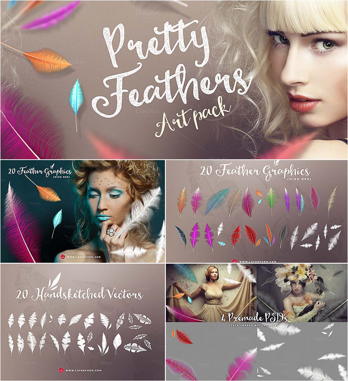 Pretty feathers vector artpack