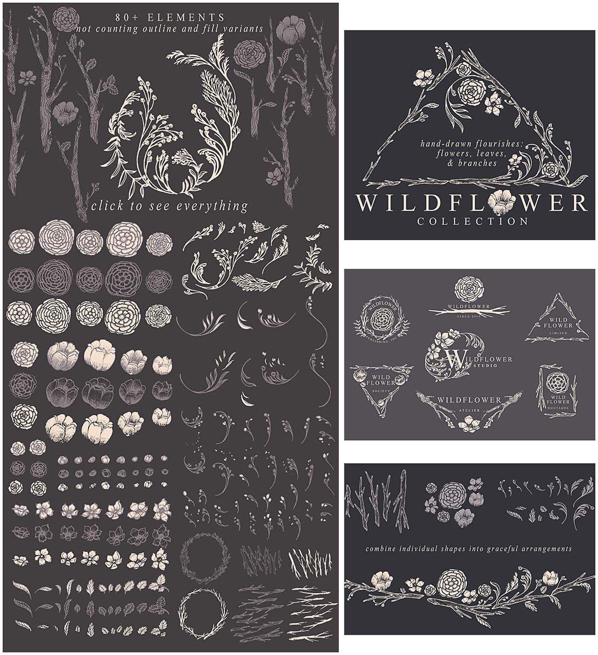 Wildflower illustration vector set