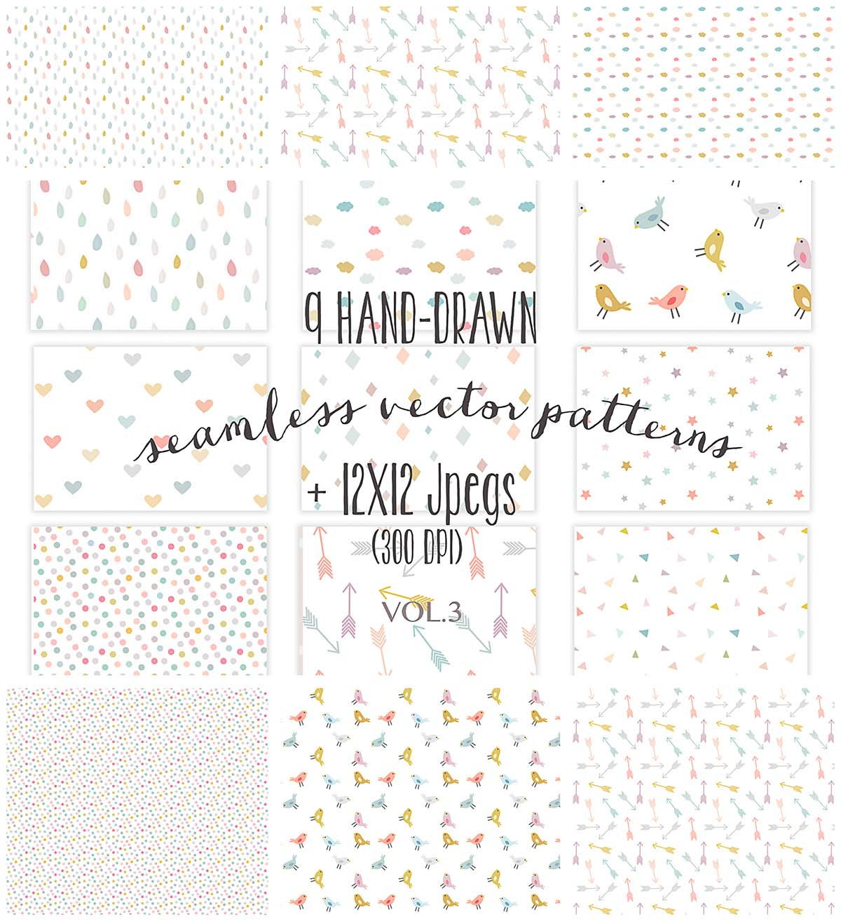 Seamless girly vector patterns