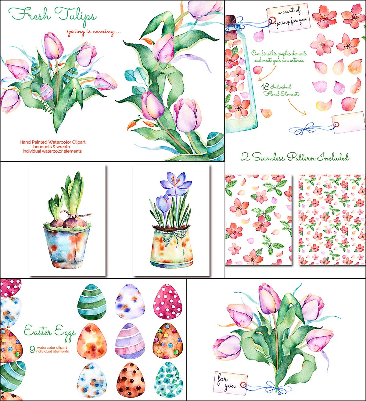 Hand drawn watercolor spring flowers and eggs